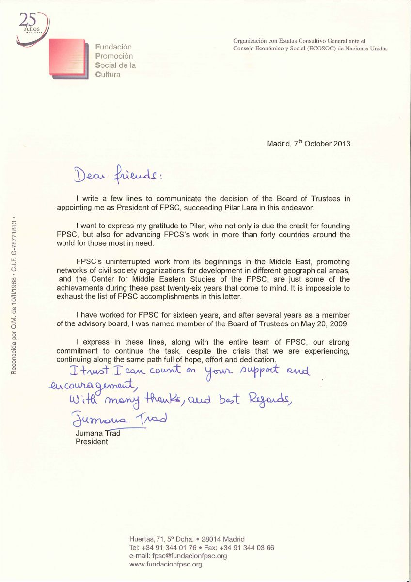 Letter From Jumana Trad After Her Appointment As The New President Of The  FPSC  Appointment Letter