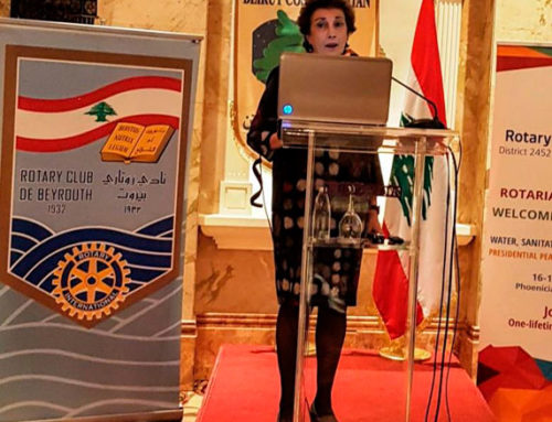 Jumana Trad gives visibility to the Social Promotion Foundation's work with Syrian refugees in the region at an event organized by the Beirut Cosmopolitan Rotary Club